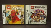 Lego Battles Ninjago + Rock Band  - Nintendo DS Lite 3DS 2DS 2 Game Lot Complete