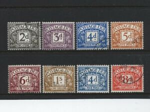 1968-9 2d-1/- STERLING NO WMK POSTAGE DUE SUPERB USED SET OF EIGHT. D69-76