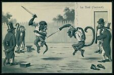 Dressed Monkey fencing sports duel fantasy original old 1900s embossed postcard