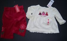 NWT Gymboree Peruvian Doll Velour Flower Pants & Best Friends Tee Top 3-6 Months