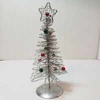 """Metal Christmas Tree Table Decoration w Red & Green Bulbs Star 8"""" Tall Silver"""