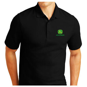 PERSONALISED JOHN DEERE LOGO EMBROIDERED POLO SHIRT WORK OUTDOOR SPORT BIRTHDAY