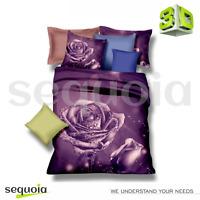 3D Effect Bedding Set Double Purple Rose 3pcs Duvet Quilt Cover + Pillowcases ✅