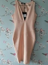 Missguided plunge bodycon bandage midi dress size 10 in nude / peach