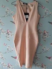 Missguided tuffo Bodycon Bandage Midi Dress Size 10 in color carne/Pesca