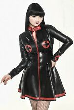 Misfitz black/red rubber latex Nurse skater dress. sizes 8-32/made to measure TV