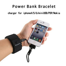 Power Bank Bracelet Wrist Portable Battery Silicone Band Powerbank 1500mAh Phone