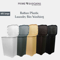 Large Rattan 60L Plastic Laundry Washing Clothes Bin Multi Storage Basket Box