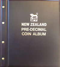 NEW ZEALAND PRE DECIMAL COIN ALBUM BLACK COLOUR 1933 - 1965 with MINTAGES SHOWN