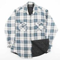 Vintage White Check Flannel Quilted Lumberjack Shirt Jacket Size Men's XL
