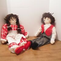 "Vintage Handmade Dolls 1 Boy 1 Girl Hand Cloth Yarn Hair 20"""