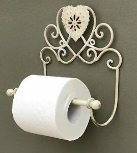 Shabby Chic Toilet Roll Holder French Vintage Bathroom WC Loo Cream Heart