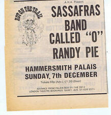 SASSAFRAS / BAND CALLED 'O' / ANDY PIE press clipping 1975 14x14cm (29/11/75)