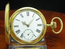 14kt 585 Gold Savonette Sprungdeckel Taschenuhr / Durchmesser 50,8 mm