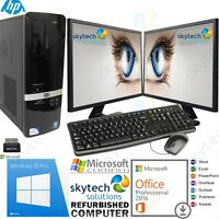 Fast HP Windows 10 Pro Desktop Full PC Computer dual Monitor 4GB Office 2016 Pro