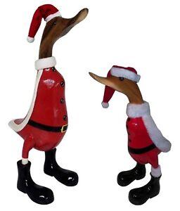 Deko Figur Holz, Bambus, Ente Weihnachten, Holzfigur, Skulptur, Weihnachtsdeko