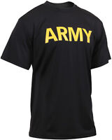 Black Performance Moisture Wicking US ARMY PT Training Workout APFU T-Shirt
