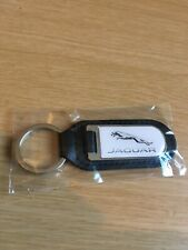 Genuine JAGUAR Dealership Steel & Leather Keyring - BRAND NEW & SEALED