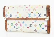 Auth LOUIS VUITTON White Multicolor Porte Tresor International Wallet #36679
