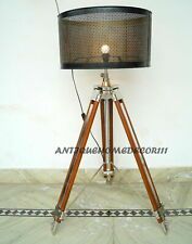 Vintage Floor Lamp Wooden Tripod Light Fixture Home Interior Decor Without Shade