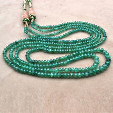 """Natural Top 3 mm to 5.5 mm line 2 Emerald Beads 24"""" Zambia 156.57 cts Gemstone"""