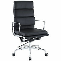 Eames Office Chair Soft Padded High Back Reproduction Aluminium Leather Black
