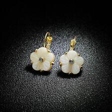 Boucles d'Oreilles Dormeuse Doré Fleur Nacre Blanc Cristal Retro Class CT4