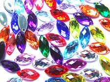 120 Mixed Marquise Faceted Bead Acrylic Rhinestone Gem 7x15mm Flatback Sew On