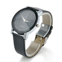 Mens Luxury Sport Military Leather Band Stainless Steel Dial Quartz Wrist Watch