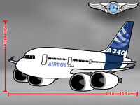 AIRBUS A340 A 340 PUDGY CUT TO SHAPE DECAL / STICKER