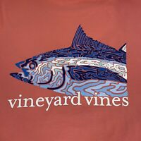 VINEYARD VINES Men's S/S Pocket Tshirt Camo Tuna Sz 2XL Coral- NEW TAGS