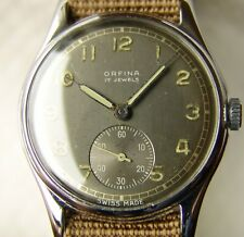 WWII PERIOD MEN'S ORFINA MILITARY STYLE WRISTWATCH GOOD CONDITION