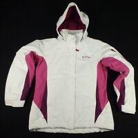 COLUMBIA Ski Jacket Size M White Purple Womens Snowboarding Hood Waterproof