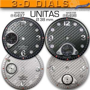 DIAL LUXURY 3-D Ø 38 MM FOR MOVEMENT ETA UNITAS 6497+ 6498, BLACK OR SILVER