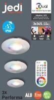 3er Set iDual LED Deckenleuchten Performa RGB jedi Einbauleuchte stahl Bad IP65