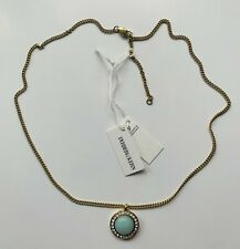 BNWT Dyrberg/Kern Atlantian SG Gold Tone Necklace with Light Blue Opal Pendant
