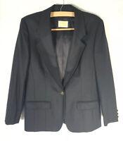 Pendleton Women's SZ 12 Virgin Wool Black Blazer Button Jacket Lined Made In USA