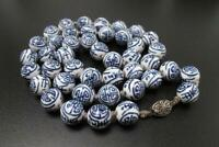 VINTAGE CHINESE EXPORT BLUE & WHITE PORCELAIN ORIENTAL BEAD NECKLACE LONGEVITY