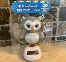 NEW Solar Powered Dancer Dancing Gray OWL Bobble Head Toy Sun Catcher! CUTE HOOT