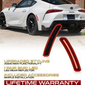 Rear Smoked Lens Red LED Side Marker Lamp Pair For 2020-2021 Toyota GR Supra
