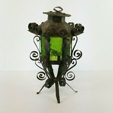 Vtg Gothic Spanish Revival Candle Holder Lamp Filigree Metal Mexico 13in Boho