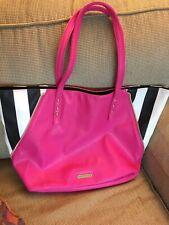JUICY COUTURE Pink With Black & White Stripe PVC Large Tote Bag Purse Handbag