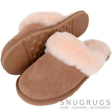 SNUGRUGS Ladies Sheepskin Slipper Mule with Sheepskin Cuff and Lightweight Sole