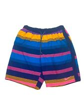 Nike Retro Multi Color Swim Shorts 90s Style Trunks Drawstring Waist Mens L
