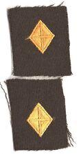 Cloth Army Collar Badge:  Finance Corps Officer, pair - WWII on gabardine