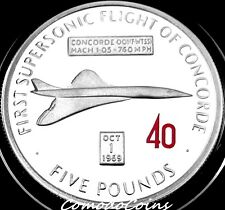 2009 Gibraltar £5 Pounds Silver Proof Coin 40th Of First Flight Of Concorde Rare