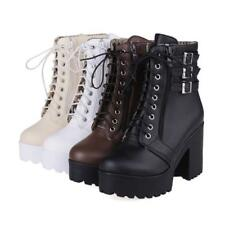 Women High Heel Platform Buckle Ankle Boot Lace Up Roma New Motor Shoe All UK Sz