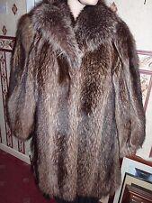 "Ladies real North American Raccoon fur coat 42"" bust size 14 length 32"""