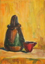 Vintage watercolor still life drawing pot and cup