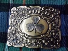 Men's Irish Shamrock Belt Buckle Antique Finish/Scottish Thistle Buckle Shamrock